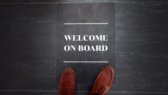 Welcome on board sign on floor