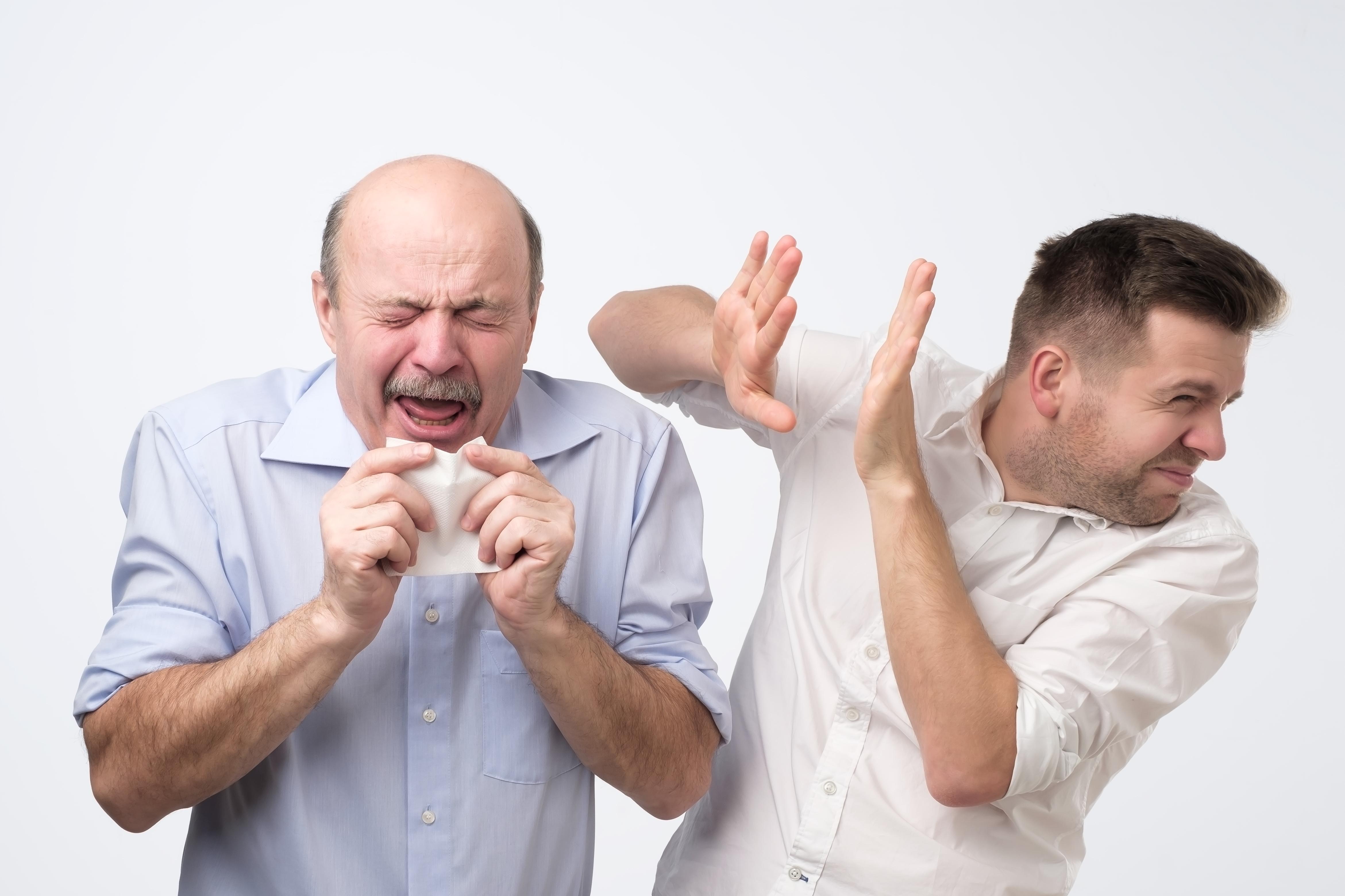 Poor old guy has terrible grippe. Studio shoot